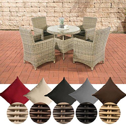 CLP Polyrattan-Sitzgruppe CASOLI mit Polsterauflagen | Garten-Set bestehend aus einem Esstisch und vier Gartenstühlen | In verschiedenen Farben erhältlich Bezugfarbe: Anthrazit, Rattan Farbe: natura