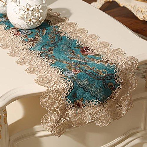 QiangZi Table Runner Beige Dentelle Doux-au-tactile Tissu De Luxe Se Sentir Table Tissu De Mariage Napperon, 35 * 240CM ( Couleur : Style2 , taille : 35*240cm )