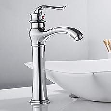 Surfmall Retro Wasserhahn Waschtischarmatur Einhebelmischer Mischbatterie Bad für die obene Waschbecken