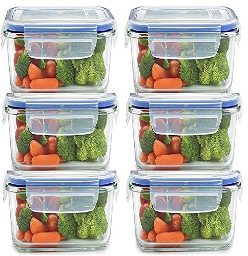 JN-Store Set of 6pcs Plastic Air Tight Square Storage Box Container Cereal Dispenser Jar 400ml Idle for Kitchen- Food Rice Pasta Pulses Container Box