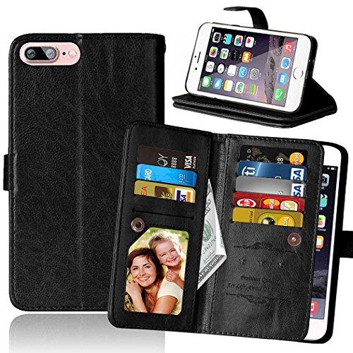 Wkae Case Cover IPhone Case 7 Plus Flip Folio Case Solid Color Etui en cuir synthétique Support Case Wallet Case avec 9 Liquide Carte Slots pour Appple IPhone 7 Plus ( Color : Black , Size : IPhone 7  Black