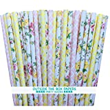 Outside the Box Papers Damask and Rose Floral Paper Straws 7.75 Inches Yellow, Pink, White by Outside the Box Papers
