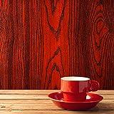 fancy-fix Selbstklebende Möbelfolie mit 3D Holz-Optik in Mahagoni-Braun – Wandfolie-Dekorieren Sie Möbel, Wände, Küche und Wohnzimmer, (40x300cm)
