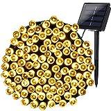 Qedertek Guirnalda Luces Exterior Solar, Cadena de Luz Solar 22M 200 LED, Luz Solar de Exterior Resistente Al Agua, Luces Blanco Cálido Decoración Para Bodas, Patio, Dormitorio, Jardines, Festivales