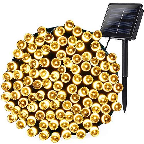 Qedertek Luces de Navidad Exterior, Guirnalda Luces Solar 22M 200 LED, Cadena Luz Solar Resistente Al Agua, Luces de Navidad Blanco Cálido Decoración Iluminación para Arbol de Navidad
