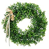Artificial Leaf Wreath with Bow Door Hanging Wall Window Decoration Wreath Holiday Festival Wedding Decor