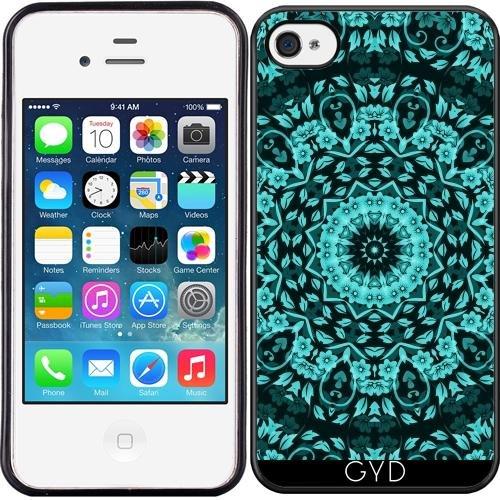 SilikonHülle für Iphone 4/4S - Teal Mandala Elegante Blumen by Nina Baydur (Iphone 4 Fälle, Teal)