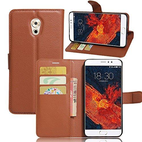 Tasche für Meizu Pro 6 Plus Hülle, Ycloud PU Ledertasche Flip Cover Wallet Case Handyhülle mit Stand Function Credit Card Slots Bookstyle Purse Design braun