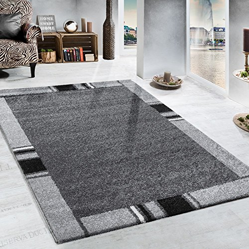 Heavy Woven Rug Border Design Modern Carpet In Grey And Black, Size:160x230 cm