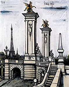 Bernard Buffet, titulo: Le Pont Alexandre III et la tour Eiffel (1988) ,LITHOGRAPHY OF MODERN TECNIQUE 38x28 cmts press 31x23 cmts. PAPER ARCHES FRANCE (WATERMARK) edition 200 Numered pencil signed pr. ???/200