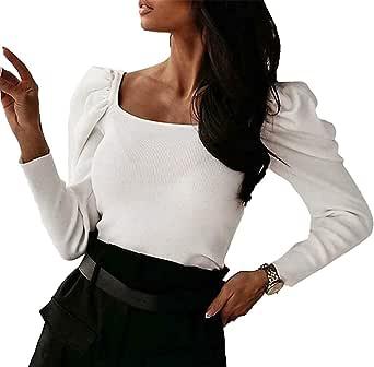 Blusa Donna Body Camicetta con Maniche Lunghe a Sbuffo Scollo Quadrato Aderente Casual Elegante alla Moda