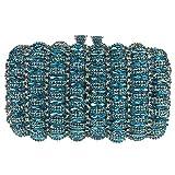 Bonjanvye Kiss Lock Studded Clutch with Crystal Rhinestone Evening Bag Mint