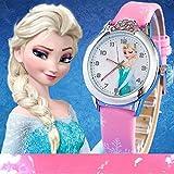 Montre quartz fille Frozen Princesse des neiges Elsa et Anna bracelet Cuir rose Mode Fille étudiante (cadran affichante elsa et anna) (Elsa rose clair)