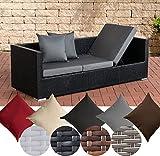 CLP flexibles Poly-Rattan 3er Lounge-Sofa SOLANO, ALU-Gestell, 4 Rattanfarben + 5 Kissenfarben, inkl. Auflagen Rattanfarbe: Schwarz, Kissenfarbe: Eisengrau