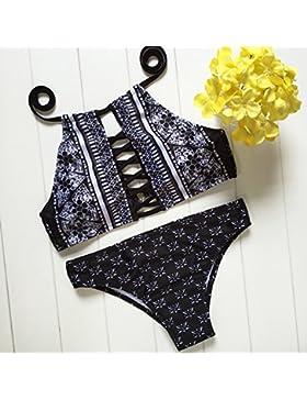 Conjuntos de Bikini Sexy Traje de Baño Trajes de Baño Split-Trend Adelgazamiento Bañador Negro, Dividida Correa,S
