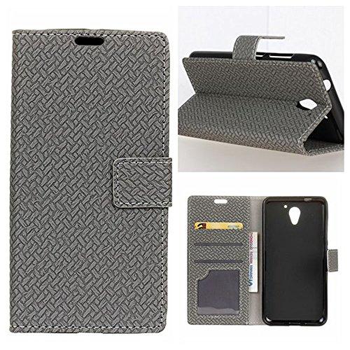 YHUISEN ZTE A510 Case, Weave Pattern Magnetische Verschluss PU Leder Geldbörse Flip Folio Schutzhülle für ZTE Blade A510 (5,0 Zoll) ( Color : Blue ) Gray