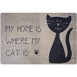 Deco-mat- Alfombrilla para el baño, uso exterior o interior; antideslizante y lavable, diseño con gatos, Beige Negro, 40 x 60 cm