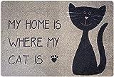 Designer Fussmatte Katze für Haustür, Flur, Innen und Aussen | Fussmatten Rutschfest und waschbar | Praktische Schmutzfangmatte – Fußabtreter | Fussabstreifer – BEIGE SCHWARZ 40 x 60 cm