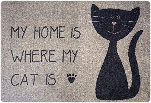 Designer Fussmatte Katze für Haustür, Flur, Innen und Aussen | Fussmatten rutschfest und waschbar | Praktische Schmutzfangmatte - Fußabtreter | Fussabstreifer - BEIGE SCHWARZ 40 x 60 cm