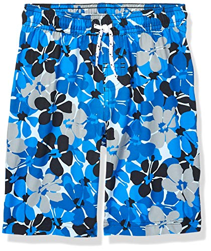 Amazon Essentials Jungen Badehose, Blue Floral, US L (EU 134-140 CM)