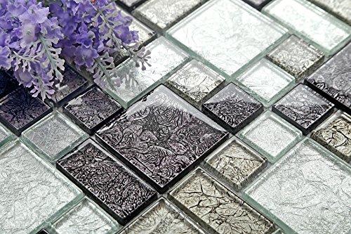 Mattonelle con mosaico in vetro nero e argento opachi con pietre