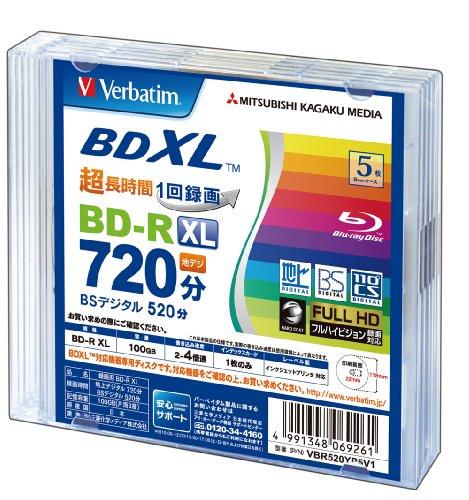 Verbatim BDXL Blu-ray Discs, BD-R XL, 100 GB, Triple Layer, für 3D geeignet, bedruckbar, 5 Stück