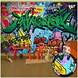 GREAT ART - Street Style - Décoration Murale Graffiti Art Ecriture Pop Art Lettrage Peinture Peinture Mur Urbaine Abstraite Bande Dessinée Murale Photo Poster Décoration Murale (336 x 238 cm)