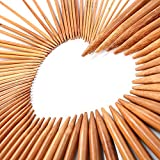 LIHAO 75 PCS Bamboo Knitting Needles Double Pointed Set (2mm To 10mm)