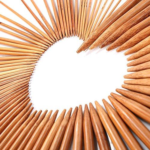 LIHAO Stricknadel Bambus Set 15 Größen (75 Stk.) 2.0-10.0mm Doppelspitzig Handarbeit Knitting Needles Crochet Hooks