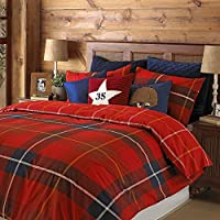 "Glencoe King Bed Duvet Cover Set - Red Tartan Check Print - Reversible - 2 x Housewife Pillowcases Included - PolyCotton - Machine Washable - 230 x 220cm (91"" x 87"" inches)"