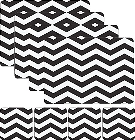 Set of 4 Placemats & 4 Coasters - Black & White Chevron by ProdBuy Limited
