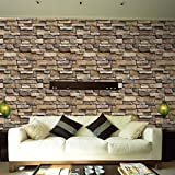 LCLrute NEUE Mode Simulated brick wall sticker 3D Wall Paper Brick Stone Rustic Effect Self-adhesive Wall Sticker Home Decor S (Multicolor)