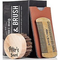 Premium Cepillo de Barba y Peine de Barba de Madera - Antiestático y Ecológico - Peine de Sándalo Natural y Cepillo de Cabello Suave Cabello Natural - Perfecto para la Barba Bálsamos y Aceites