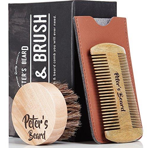 Premium Bartbürste und Bartkamm Set - 2 PACK - Antistatische und Ökologische Bartpflege Set - Natürliche Sandelholzkamm & Natürliche weiche Haarborstenbürste - Perfekt für Bartbalsame & Öle - PU Leder