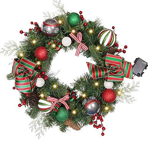 """Valery Madelyn 20"""" Weihnachtskranz 50cm mit 20 LED beleuchtet batteriebetrieben Türkranz Adventskranz aus PVC mit Fernbedienung und Timer Funktion Rot Grün Außen Weihnachtsdeko für Tür und Fenster"""