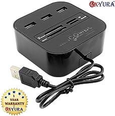 Oxyura Combo Card Reader; All In One Combo Card Reader + 3 Port USB Hub Black
