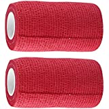 A -TAPE Cohesive Elastic Self Adhesive Crepe Bandage (10 cm X 4.5 m, Red) - Pack of 2