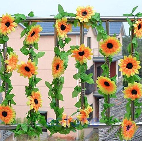 Künstliche Sonnenblume-Blumen-Rebe Kofun für Hochzeit, DIY künstliche Sonnenblume-Girlanden-Blumen-Rebe für Haus-Hochzeits-Blumendekor Weihnachtsdocaration