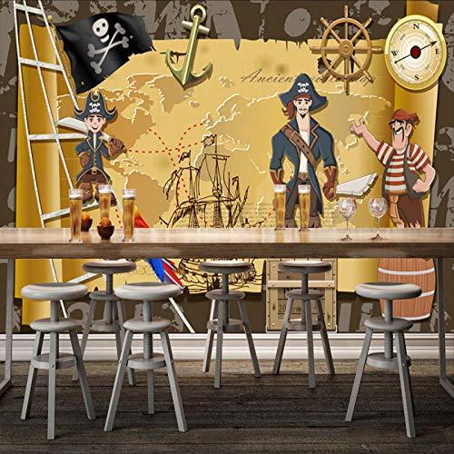 Hintergrund wallpaper_Caribbean Pirate Hintergrundbild Café Bar Teestube Thema Restaurant kreative wallWallpaper 3D Fototapete Paste Grenze Wandbild Tapete Fototapete Wandbilder-300cm×210cm