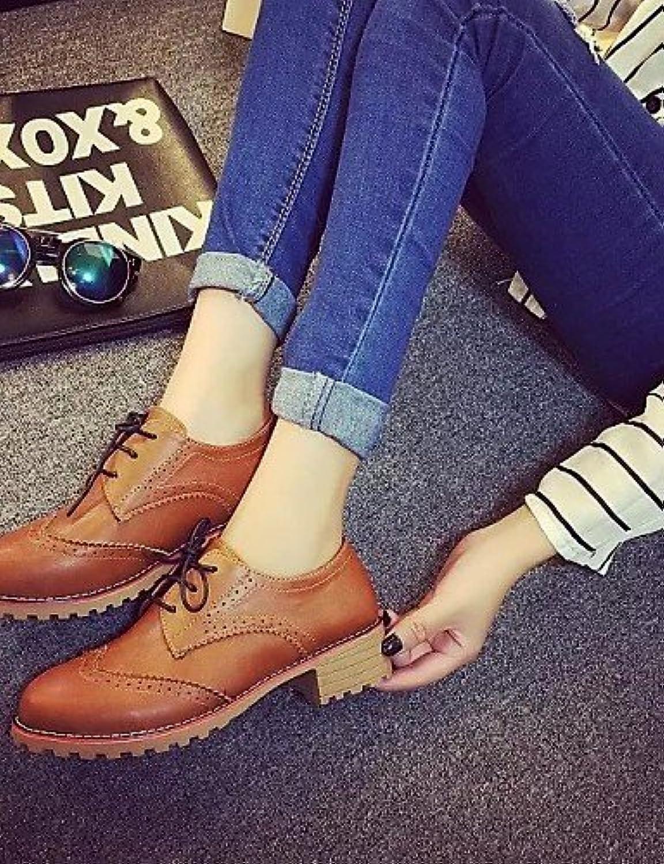 ZQ hug Zapatos de mujer - Tacón Bajo - Punta Redonda - Oxfords - Casual - Semicuero - Negro / Marrón , brown-us8...