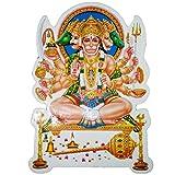 Ratnatraya Lord Panchmukhi Hanuman Golden Foil Sticker Wall, Door, Car, Sticker For Spiritual Protection And Vastu
