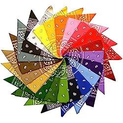 Conjunto de 12Paisley Bandana de–12colores, 100% algodón