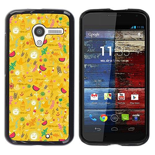WonderWall Tapete Bunt Bild Handy Hart Schutz hülle Case Cover Schale Etui für Motorola Moto X 1 1st GEN I XT1058 XT1053 XT1052 XT1056 XT1060 XT1055 - gelb glücklich optimistisch Muster
