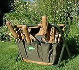 Garden Tool Storage Stool & Detachable Bag with Multiple Pockets Portable Weeding Seat (Khaki)