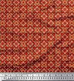 Soimoi Rot Kunstseide Stoff Blumen & marokkanisch Damast