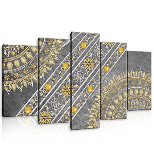 welt-der-träumewandbild Set canvasbild Set Set de impresión de Lienzo juego de lienzo | Mandala | | lienzo cuadro Impresión Set 10123_ ps17-ms | Mandala india Hindi Orient Oriental oro Golden, S17 (100x60 (1x60x20, 2x50x20, 2x40x20))