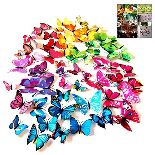 iwobi 72 pezzi Farfalla Adesivi Murali,Vari Colori Adesive da Parete 3D Decorazione Casa Stickers Murali