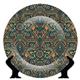 #8: Vratim Rare Handcrafted Orange/Blue Floral Print Ceramic Decorative Plate/Platter with Stand