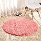 Runder, besonders weicher Teppich von Furnily für das Wohn- oder Schlafzimmer, 120cm Durchmesser rot