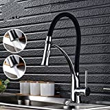 Alton Leo Kitchen Sink Faucet, Pull-Out Long Neck Faucet Sprayer, Dual Functions With 2 Flows, Chrome Finish, Black Silicone Hose Kitchen Sink Tap